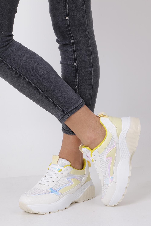 Białe buty sportowe sneakersy sznurowane Casu 7-K662D