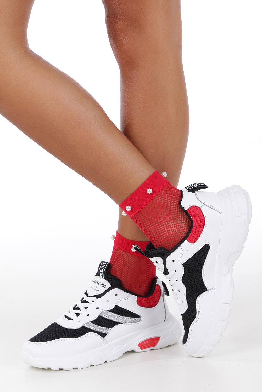 Białe buty sportowe sneakersy sznurowane Casu 702 wysokosc_obcasa 4 cm