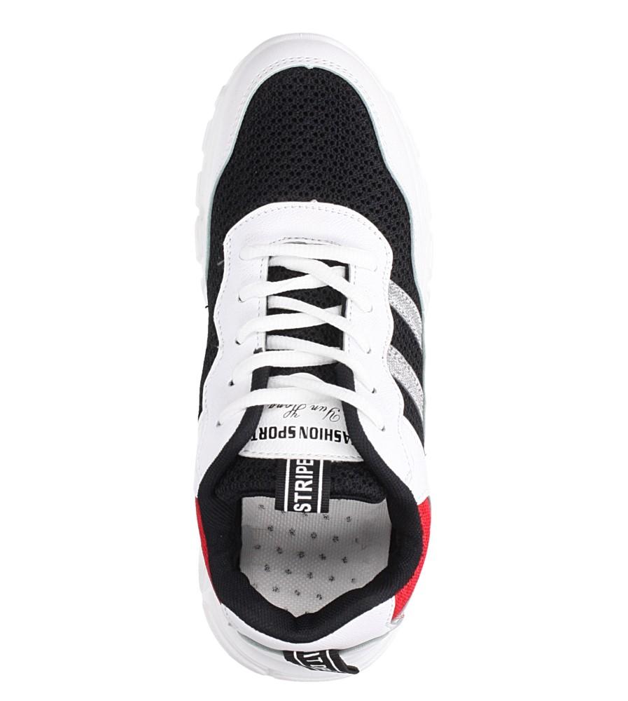 Białe buty sportowe sneakersy sznurowane Casu 702 wnetrze materiał