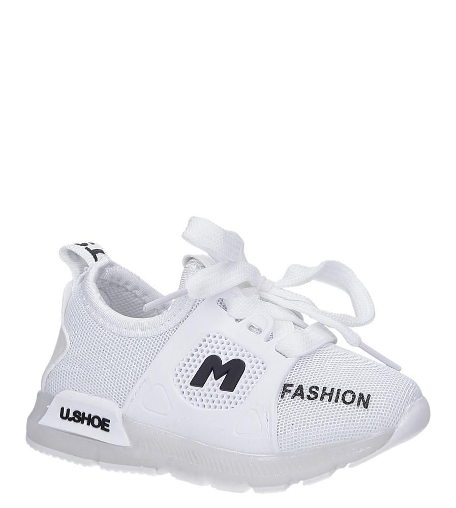 Białe buty sportowe świecące led sznurowane Casu 332 biały