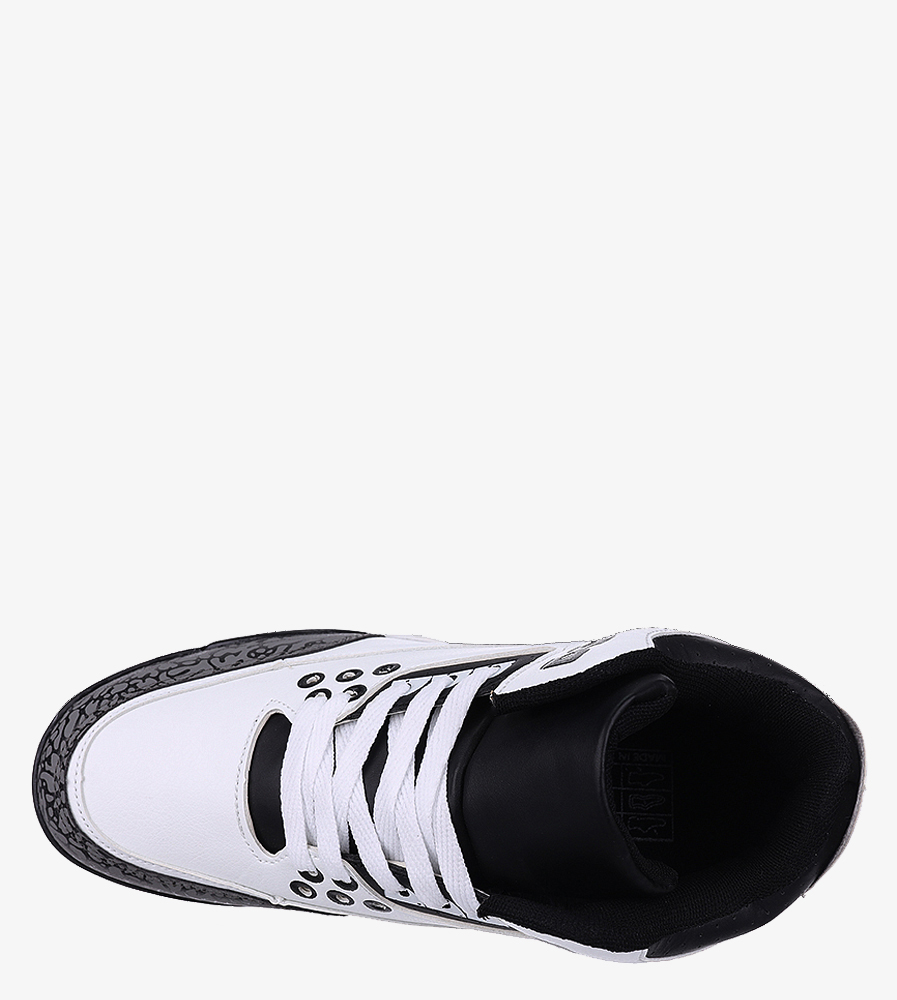 Białe buty sportowe sznurowane Casu 201C/WG5 wierzch skóra ekologiczna