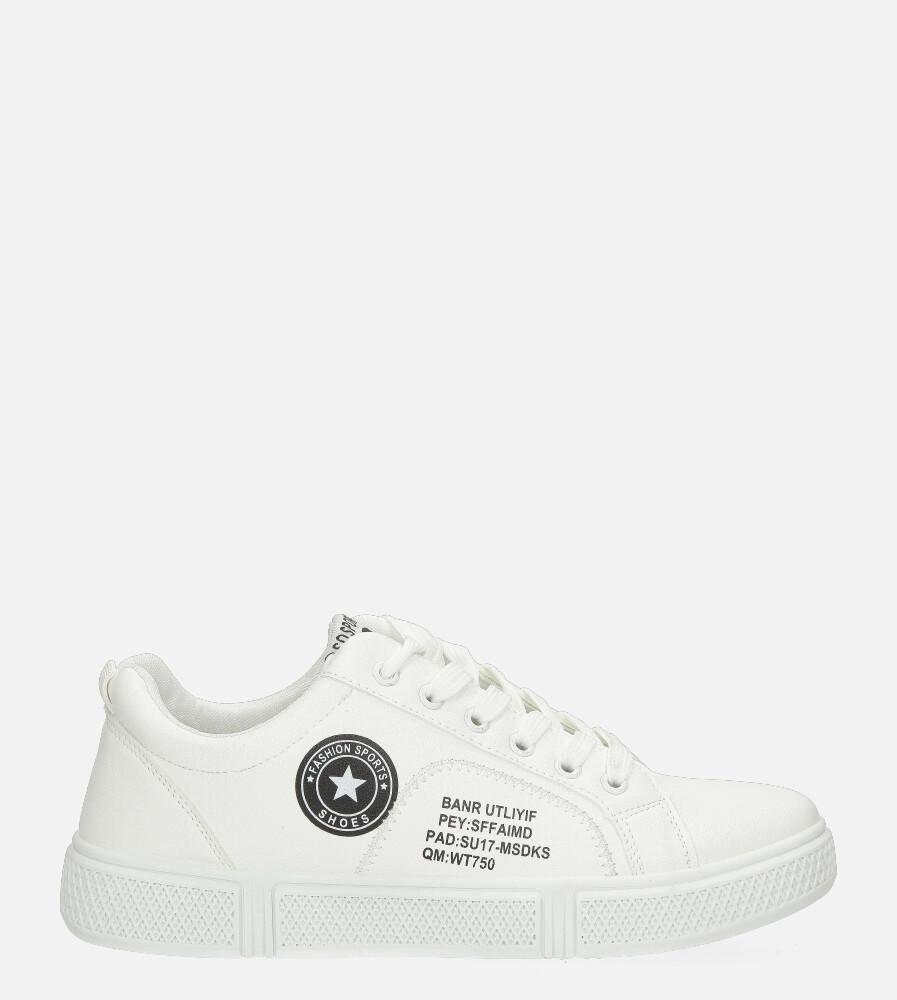 Białe buty sportowe sznurowane Casu K-23 biały