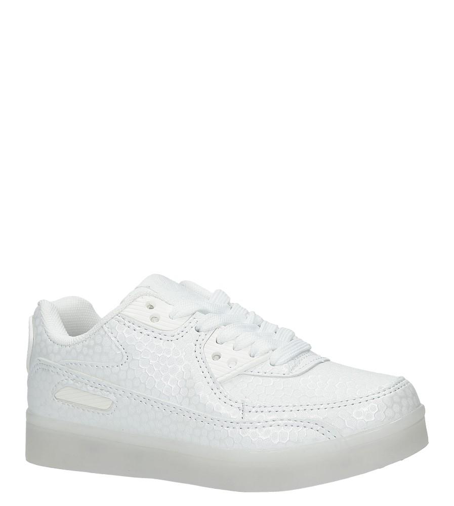 Białe buty sportowe sznurowane świecące led Casu K-158 biały