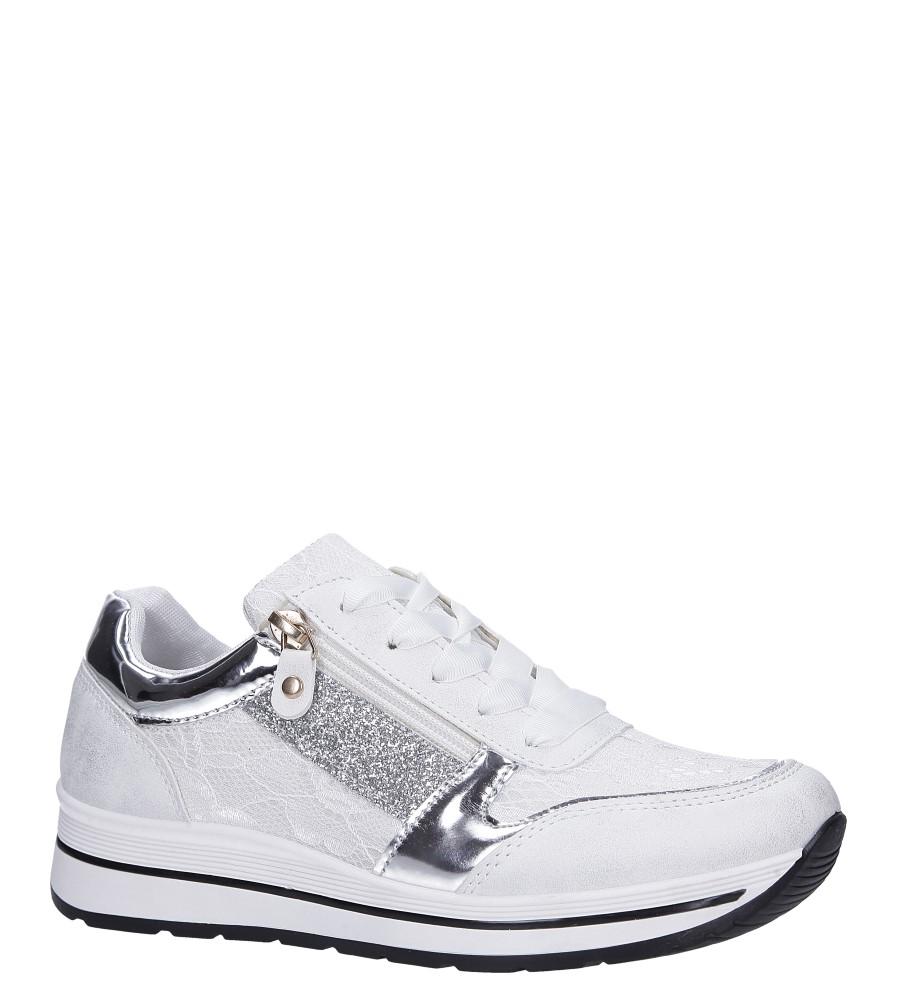Białe buty sportowe sznurowane z brokatem i ozdobnym suwakiem Casu GF-ZM97 biały