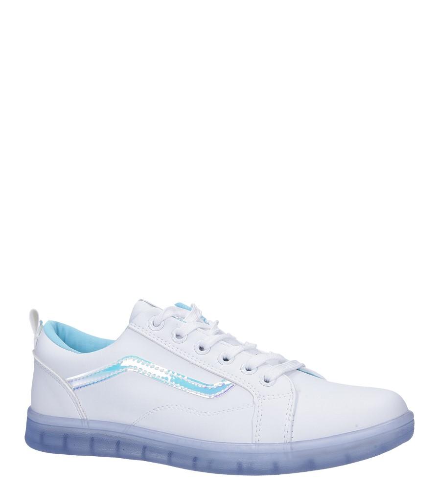 Białe buty sportowe sznurowane z holograficzną wstawką i niebieską podeszwą Casu 8-K693B