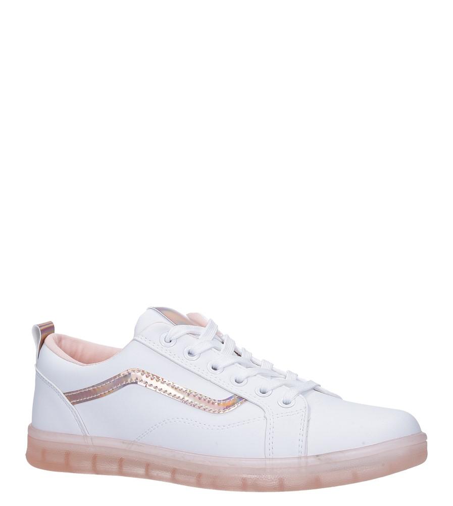 Białe buty sportowe sznurowane z holograficzną wstawką i różową podeszwą Casu 8-K693A