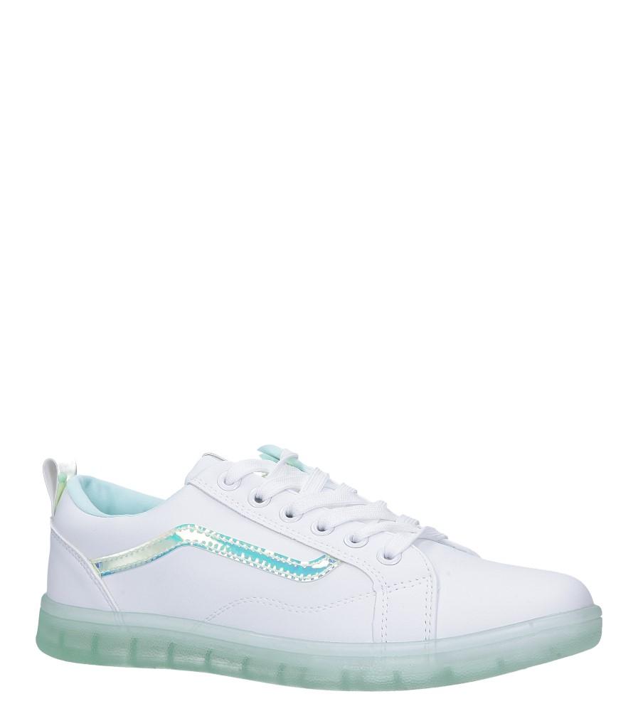 Białe buty sportowe sznurowane z holograficzną wstawką i zieloną podeszwą Casu 8-K693C