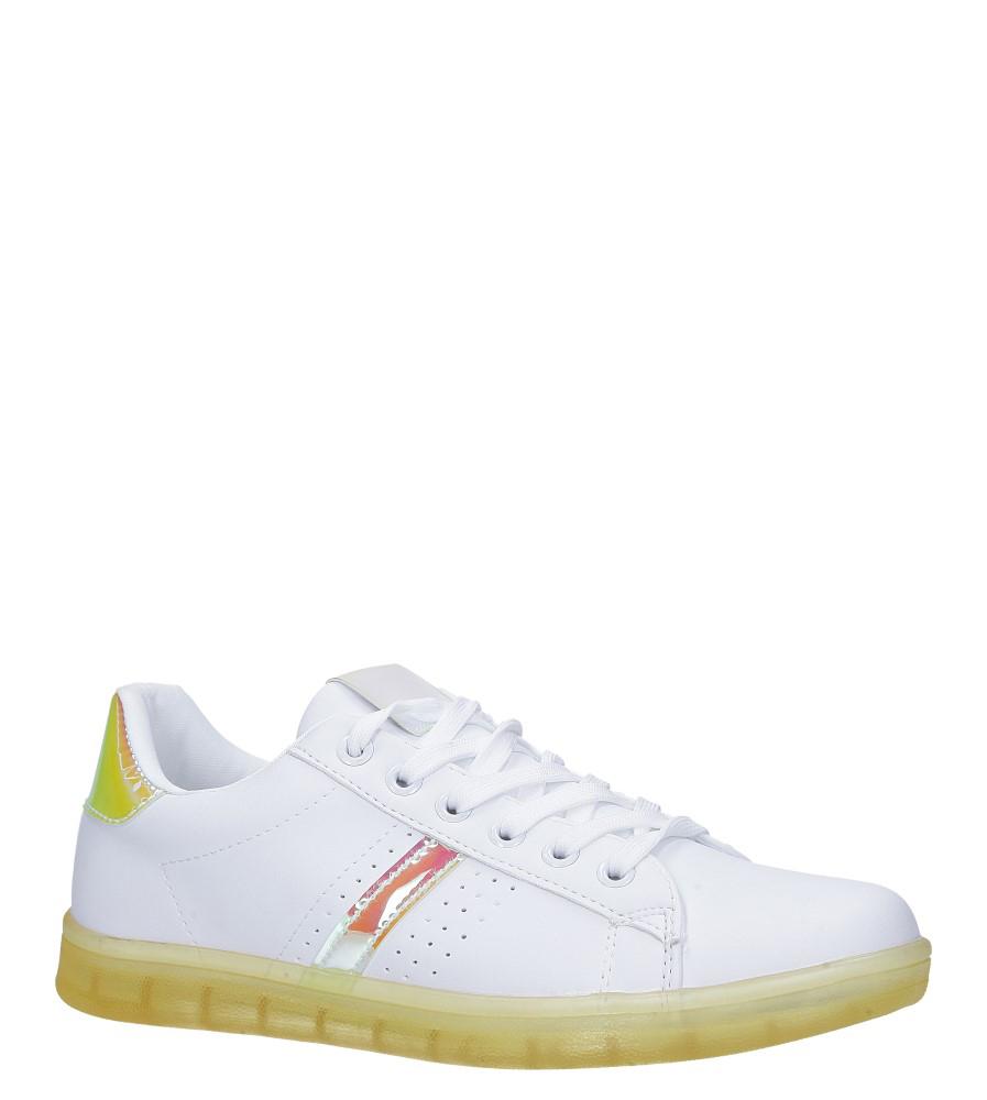 Białe buty sportowe sznurowane z holograficzną wstawką i żołtą podeszwą Casu 8-K692C