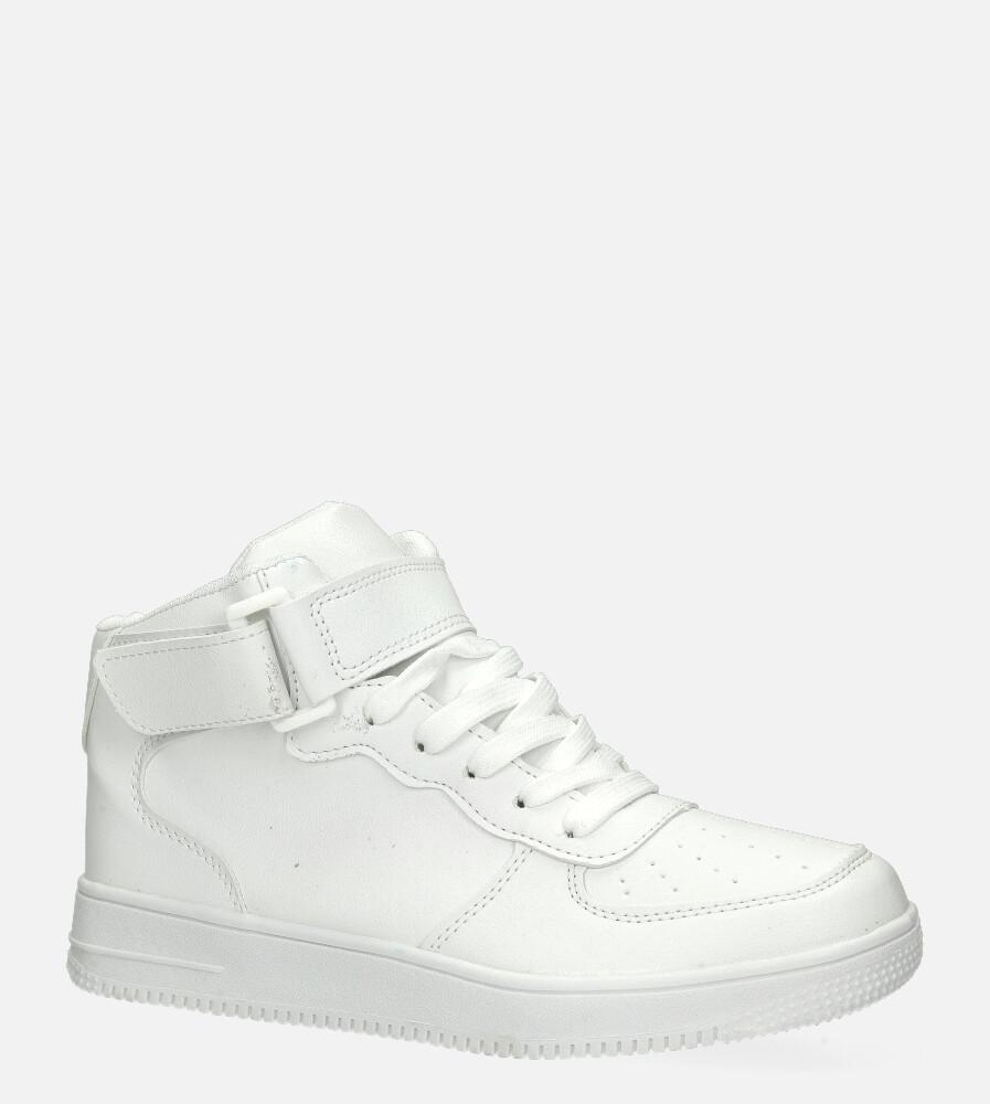 Białe buty sportowe wysokie na rzep Casu 20C1/W