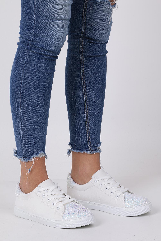 Białe buty sportowe z brokatem sznurowane Casu TL82-3 producent Casu