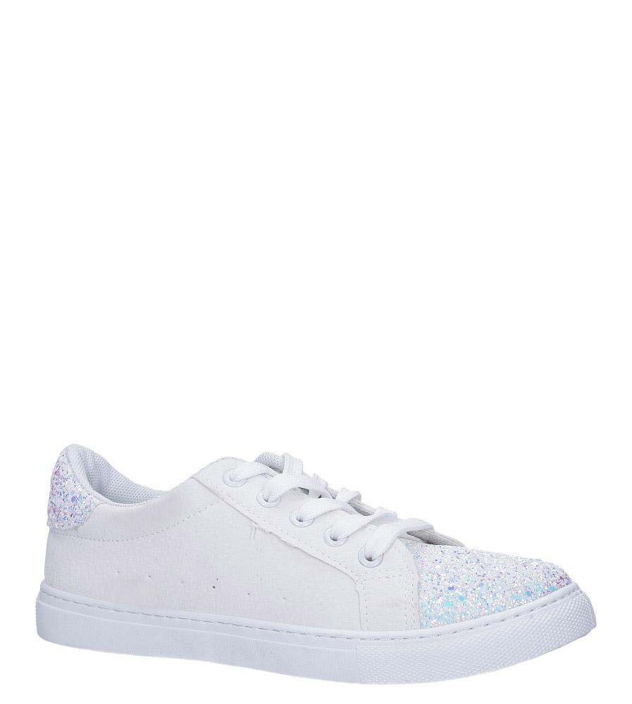 Białe buty sportowe z brokatem sznurowane Casu TL82-3 model TL82-3