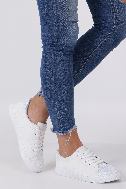 Białe buty sportowe z brokatem sznurowane Casu TL82-3 sezon Całoroczny