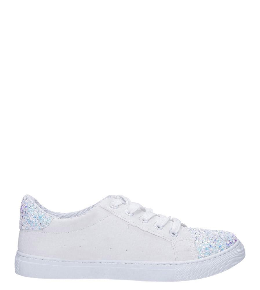 Białe buty sportowe z brokatem sznurowane Casu TL82-3 wys_calkowita_buta 8.5 cm