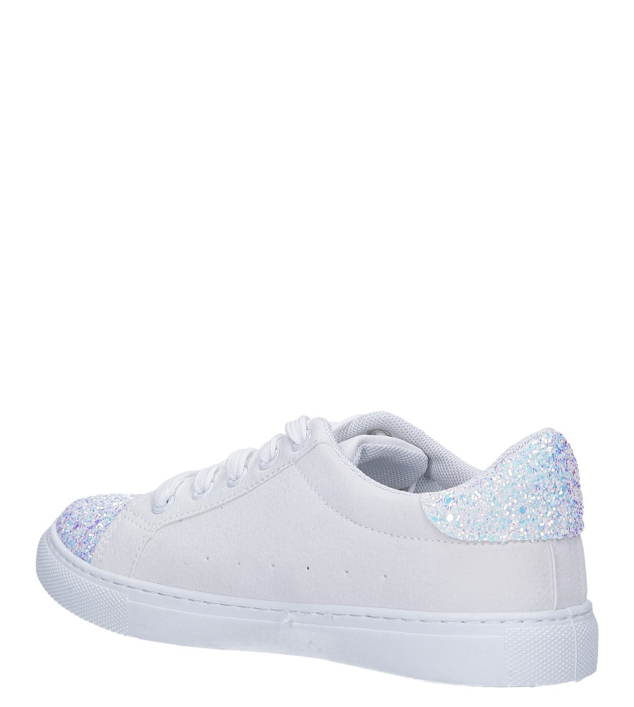 Białe buty sportowe z brokatem sznurowane Casu TL82-3 wierzch skóra ekologiczna