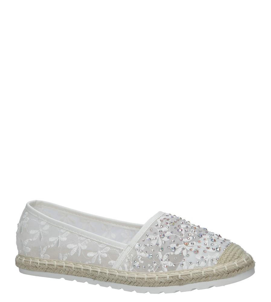 Białe espadryle koronkowe z kryształkami Casu H-6560 biały