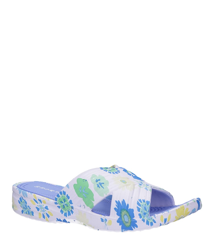 Białe klapki basenowe w kwiatki Casu 9781
