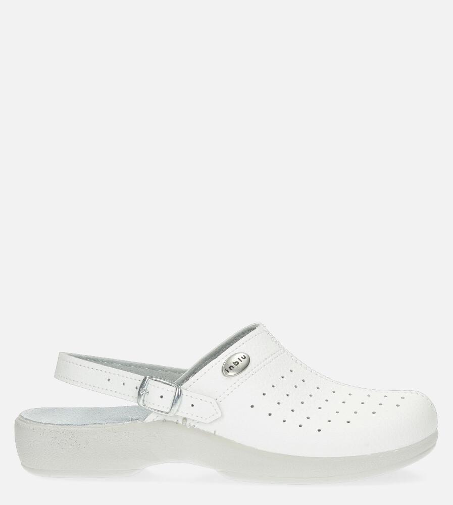 Białe klapki Inblu sanitarne medyczne ze skórzaną wkładką AE000004 biały