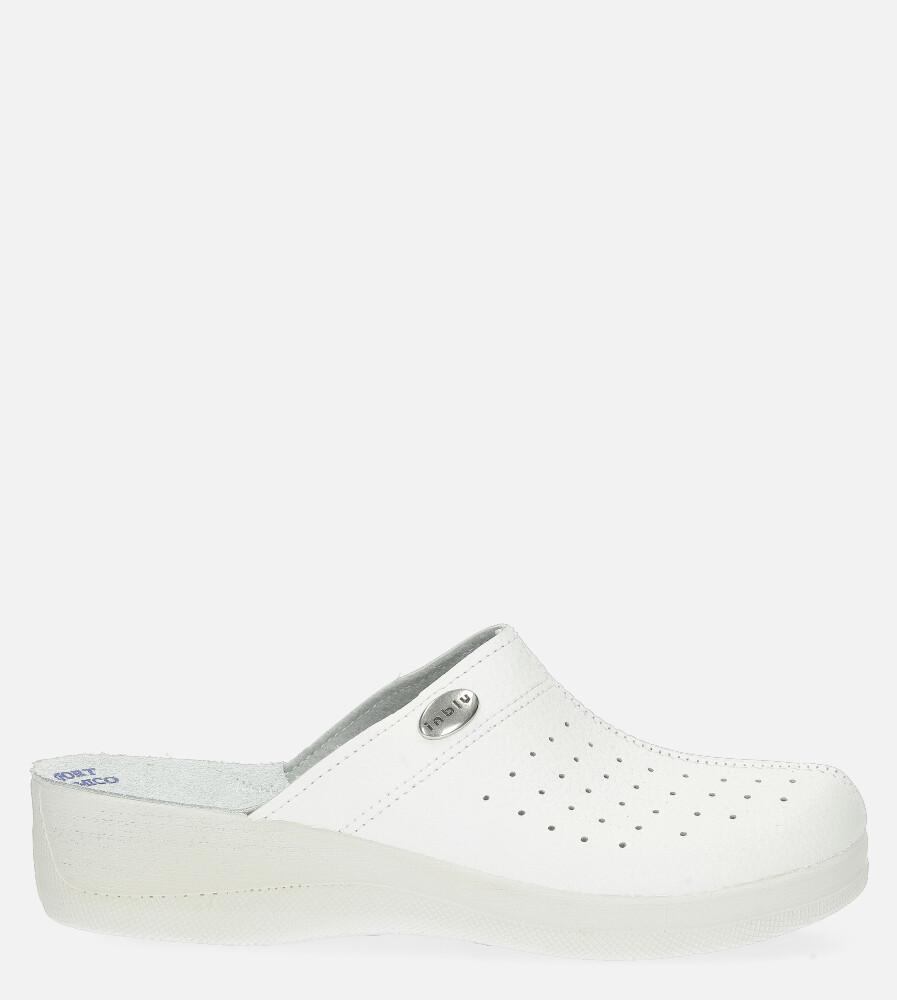 Białe klapki Inblu sanitarne medyczne ze skórzaną wkładką EH000004 biały