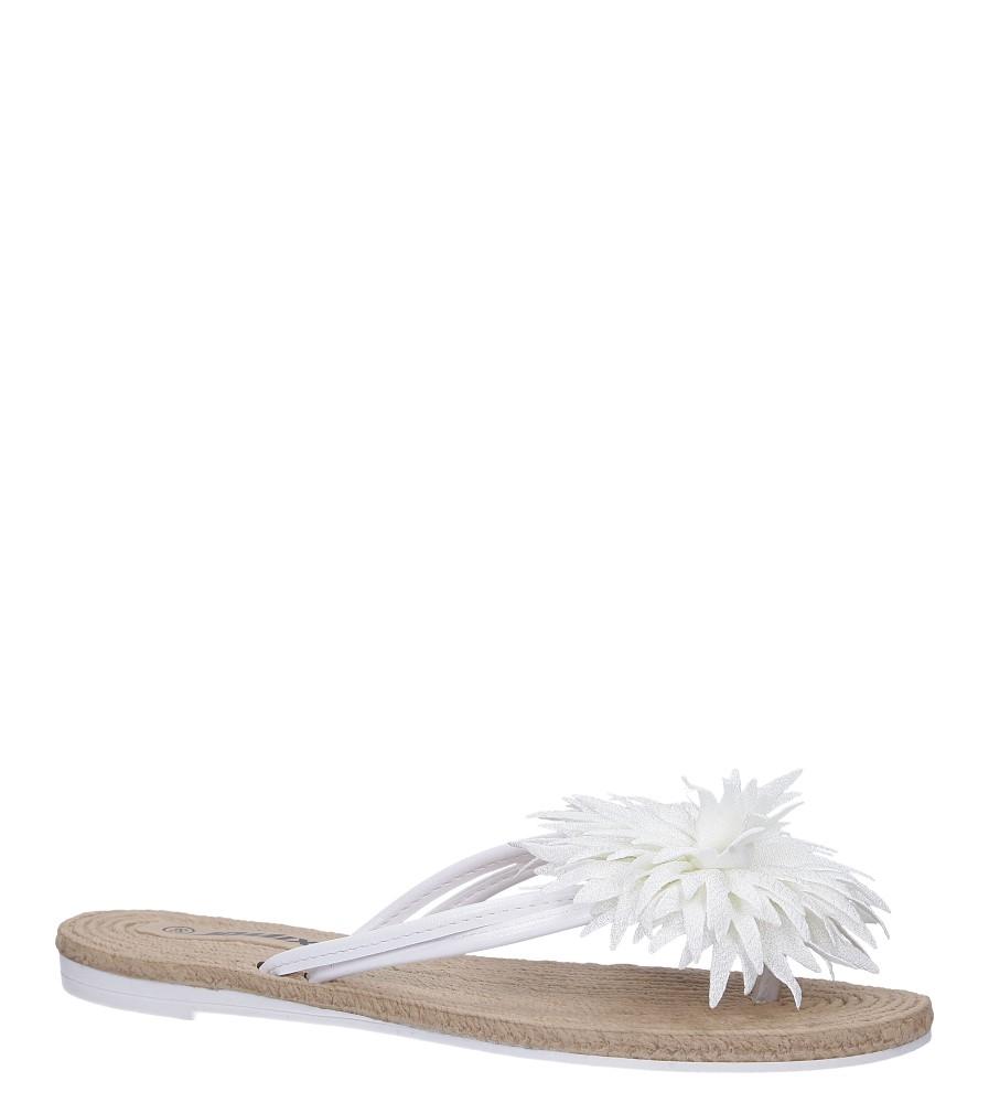 Białe klapki japonki z kwiatkiem Casu SD0099
