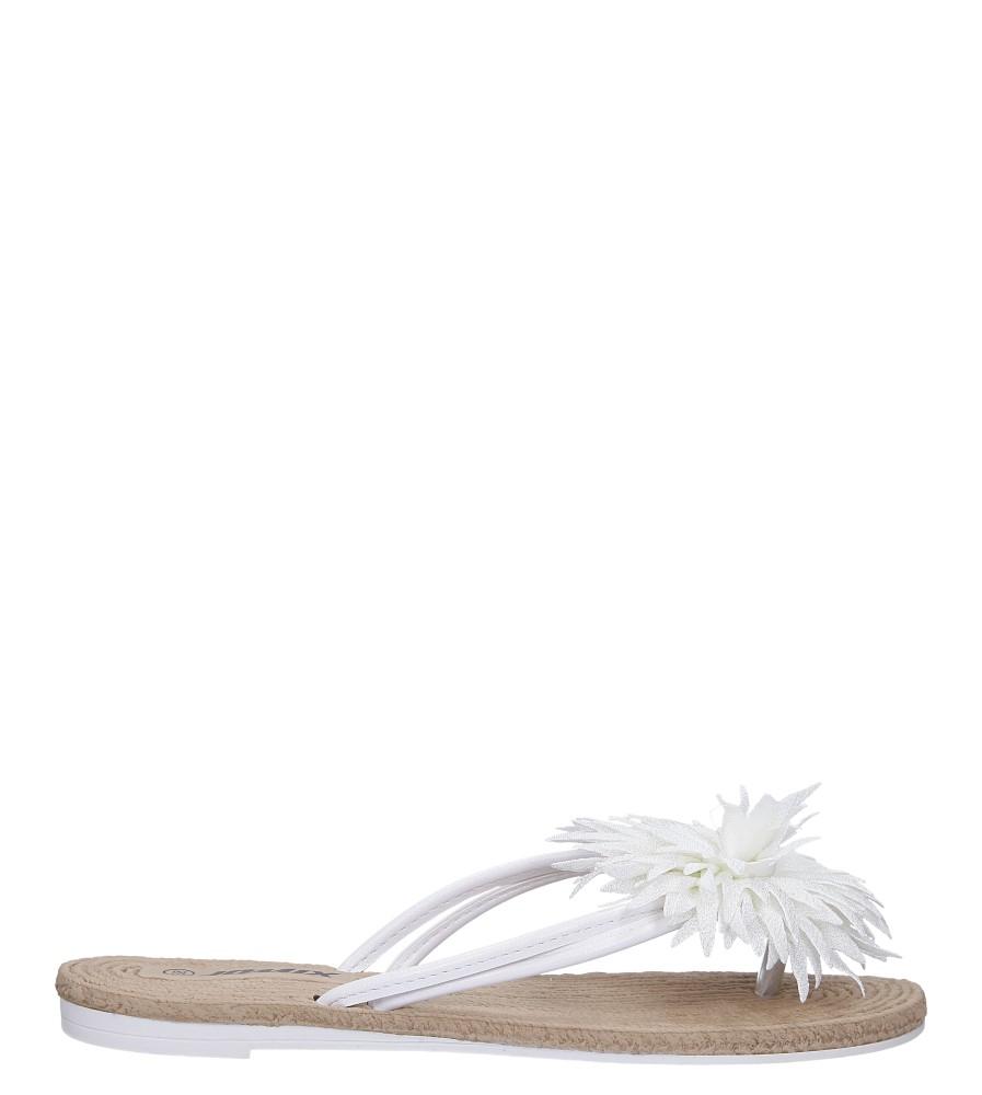 Białe klapki japonki z kwiatkiem Casu SD0099 kolor biały
