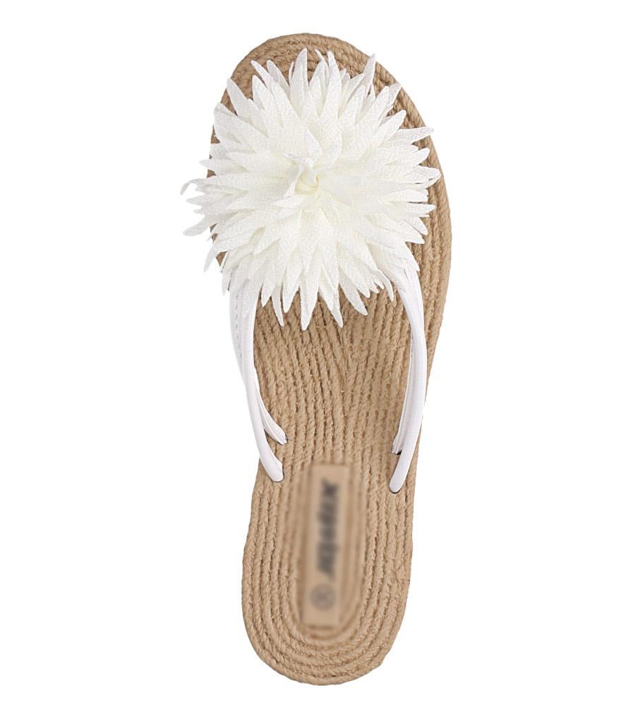 Białe klapki japonki z kwiatkiem Casu SD0099 wys_calkowita_buta 9 cm