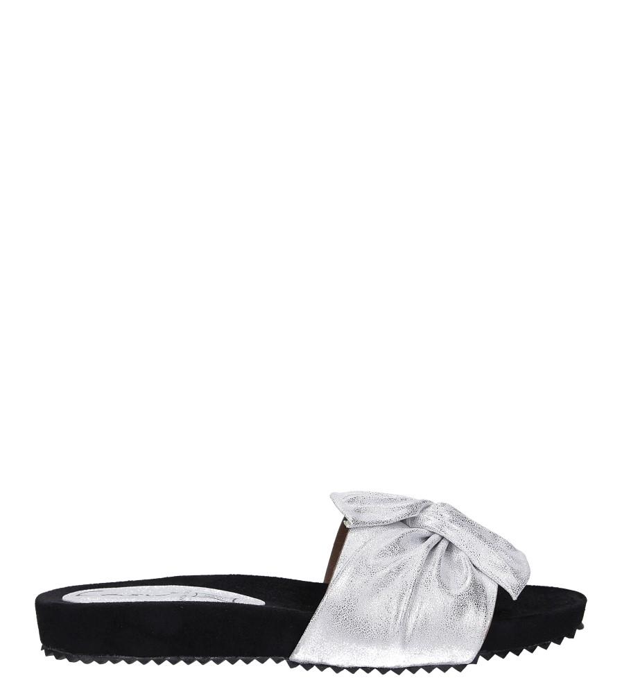 Białe klapki płaskie błyszczące z kokardą Casu K19X18/S wysokosc_platformy 1.5 cm