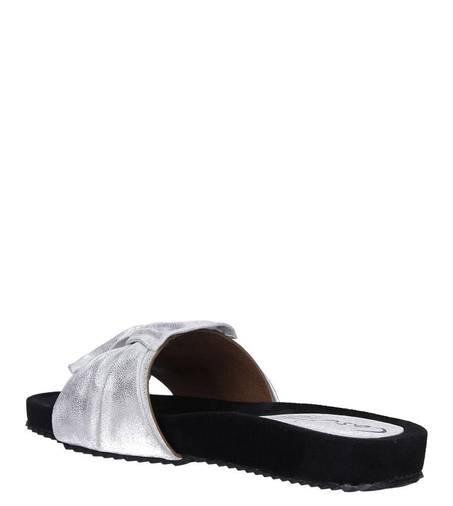 Białe klapki płaskie błyszczące z kokardą Casu K19X18/S wys_calkowita_buta 8 cm