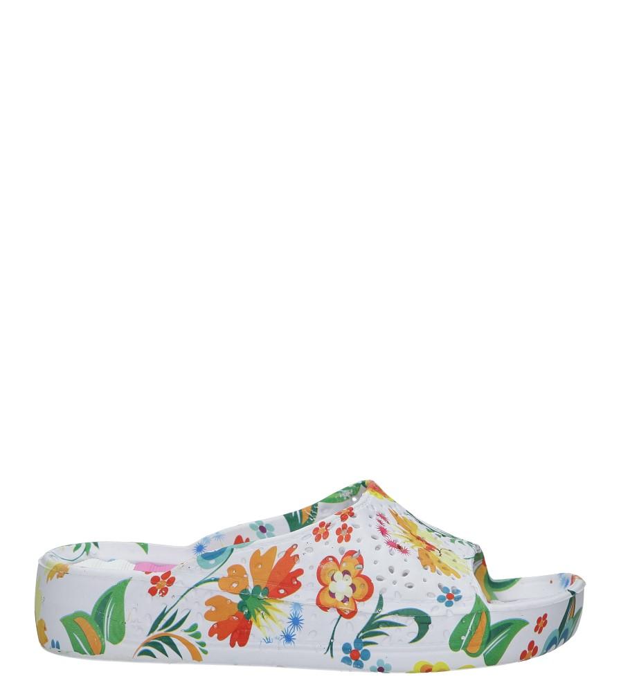 Białe klapki w kwiatki na koturnie Casu 1025