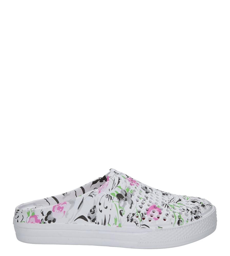 Białe klapki w kwiaty Casu 5702