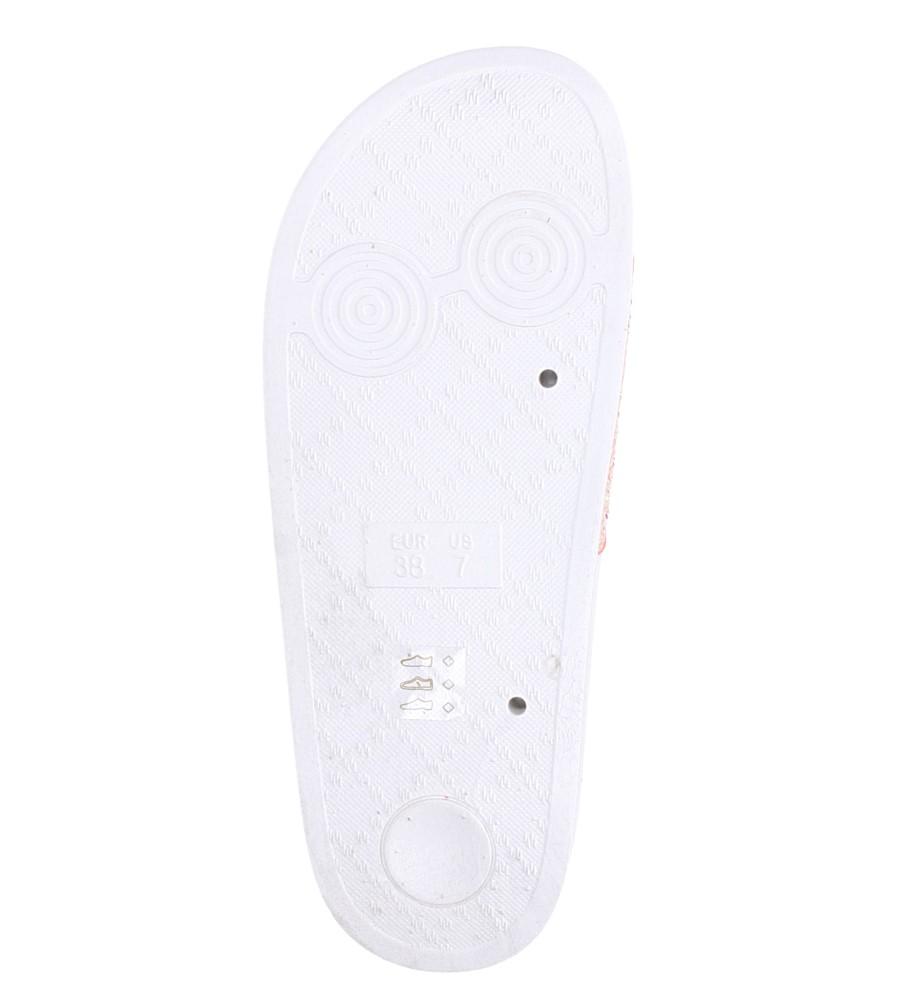 Białe klapki z brokatem Casu B19X6/W wnetrze materiał