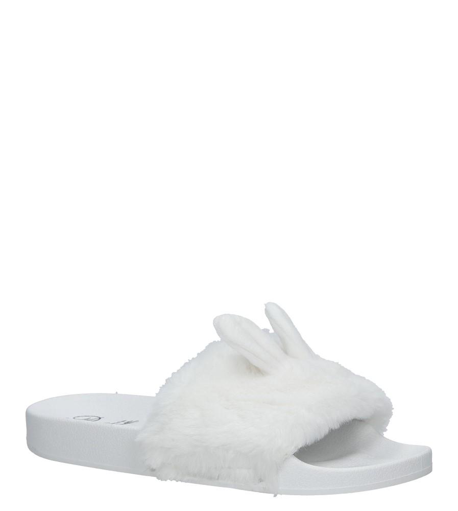 Białe klapki z futerkiem Casu 232-1