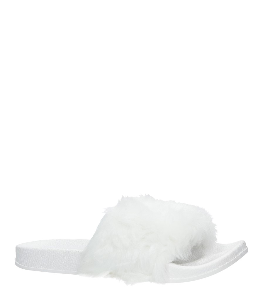 Białe klapki z futerkiem Casu SAM04A