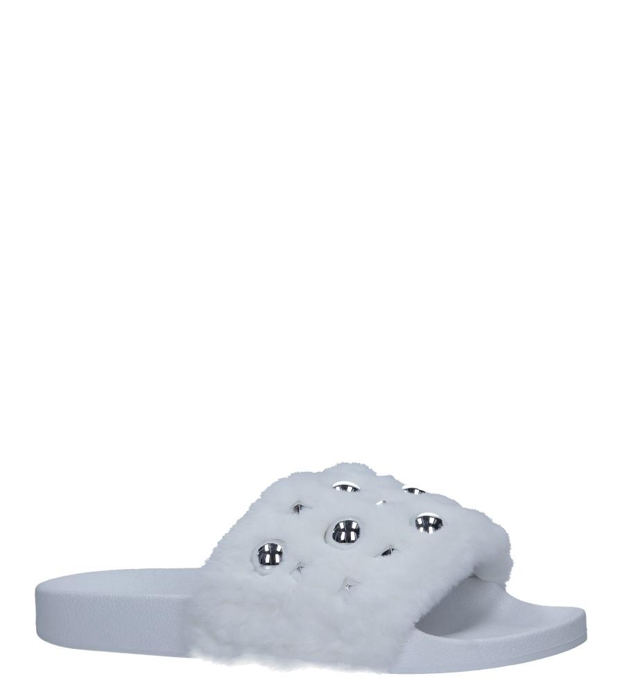 Białe klapki z futerkiem i nitami Casu 232-5
