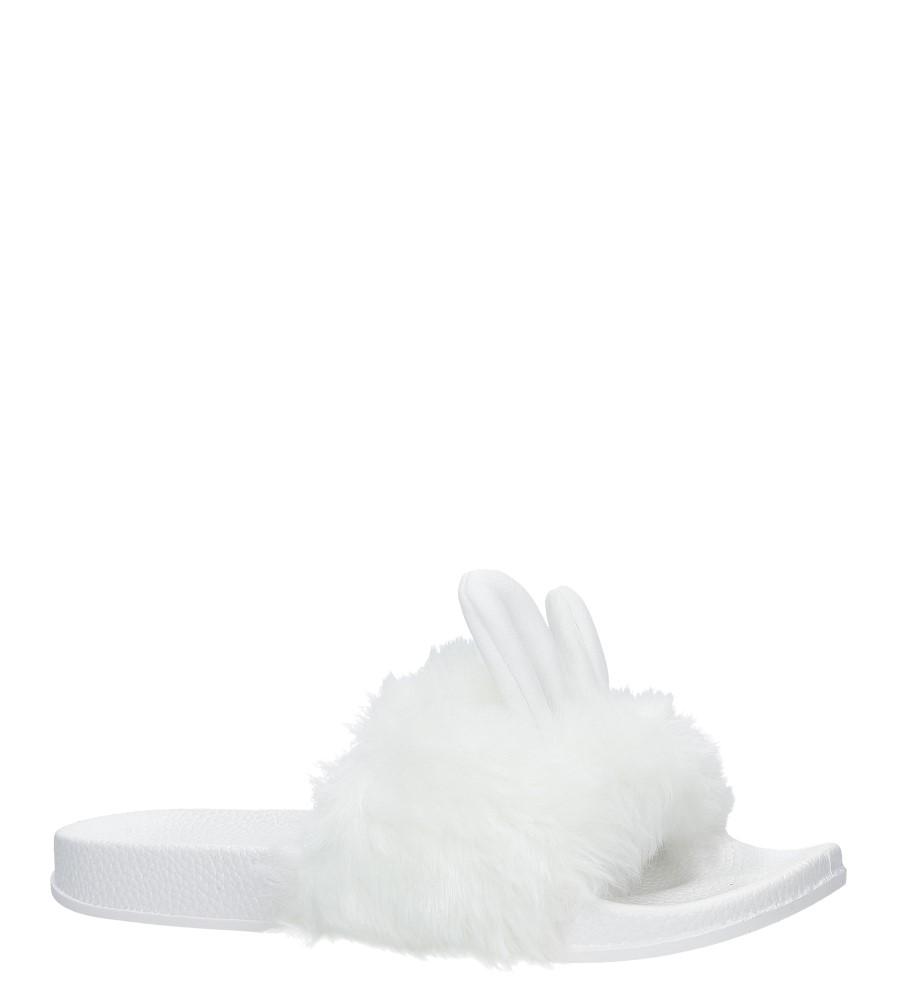 Białe klapki z futerkiem i uszkami Casu SAM03A