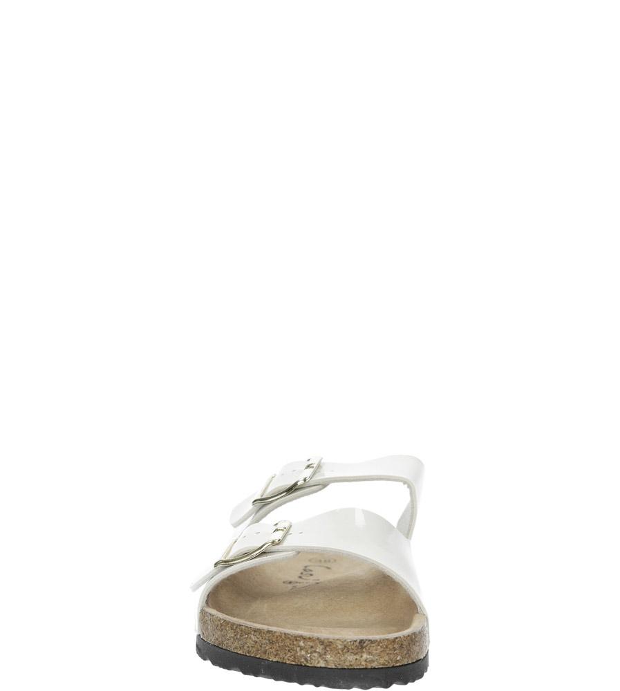 Białe lakierowane klapki z dwoma paskami z komfortową skórzaną wkładką i profilowaną korkową podeszwą Casu B18X2/WP kolor biały