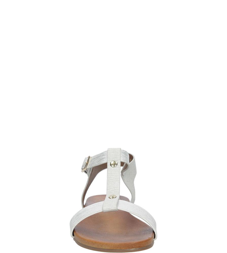 Białe lekkie sandały damskie płaskie z paskiem przez środek Casu K18X1/W kolor biały