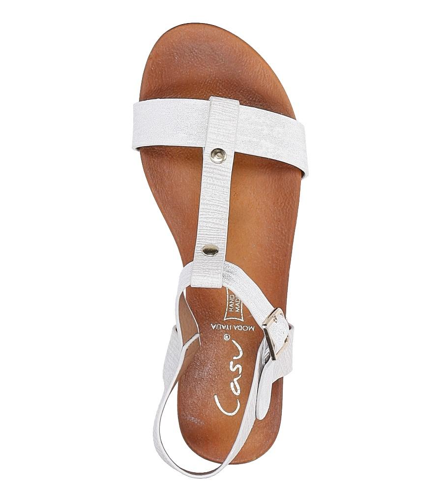 Białe lekkie sandały damskie płaskie z paskiem przez środek Casu K18X1/W wysokosc_platformy 2 cm