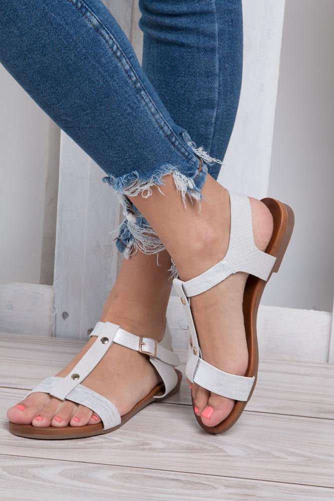 Białe lekkie sandały damskie płaskie z paskiem przez środek Casu K18X1/W wkladka skóra ekologiczna