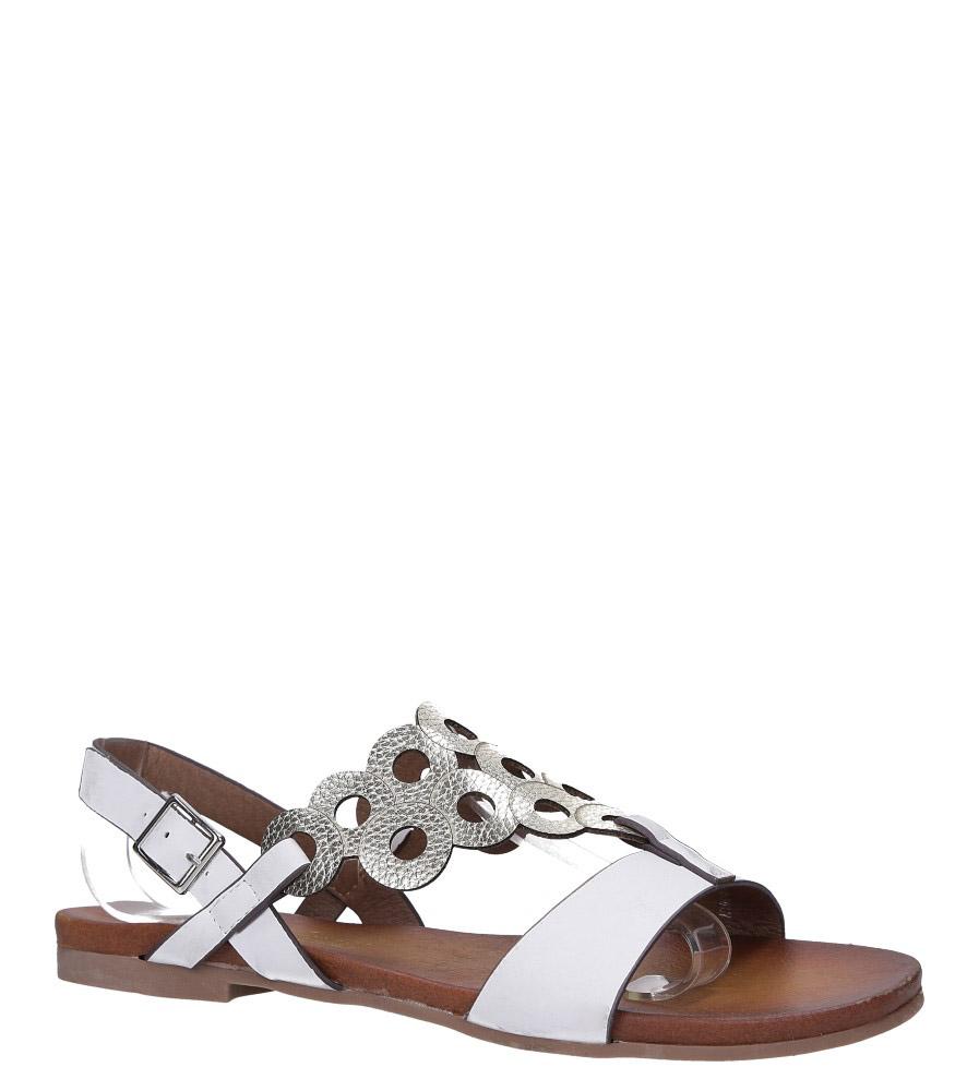 Białe lekkie sandały płaskie ażurowe błyszczące Casu K19X14/W model K19X14/W