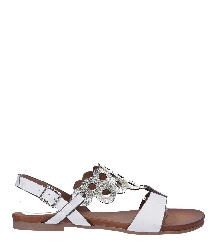 Białe lekkie sandały płaskie ażurowe błyszczące Casu K19X14/W wysokosc_obcasa 2 cm