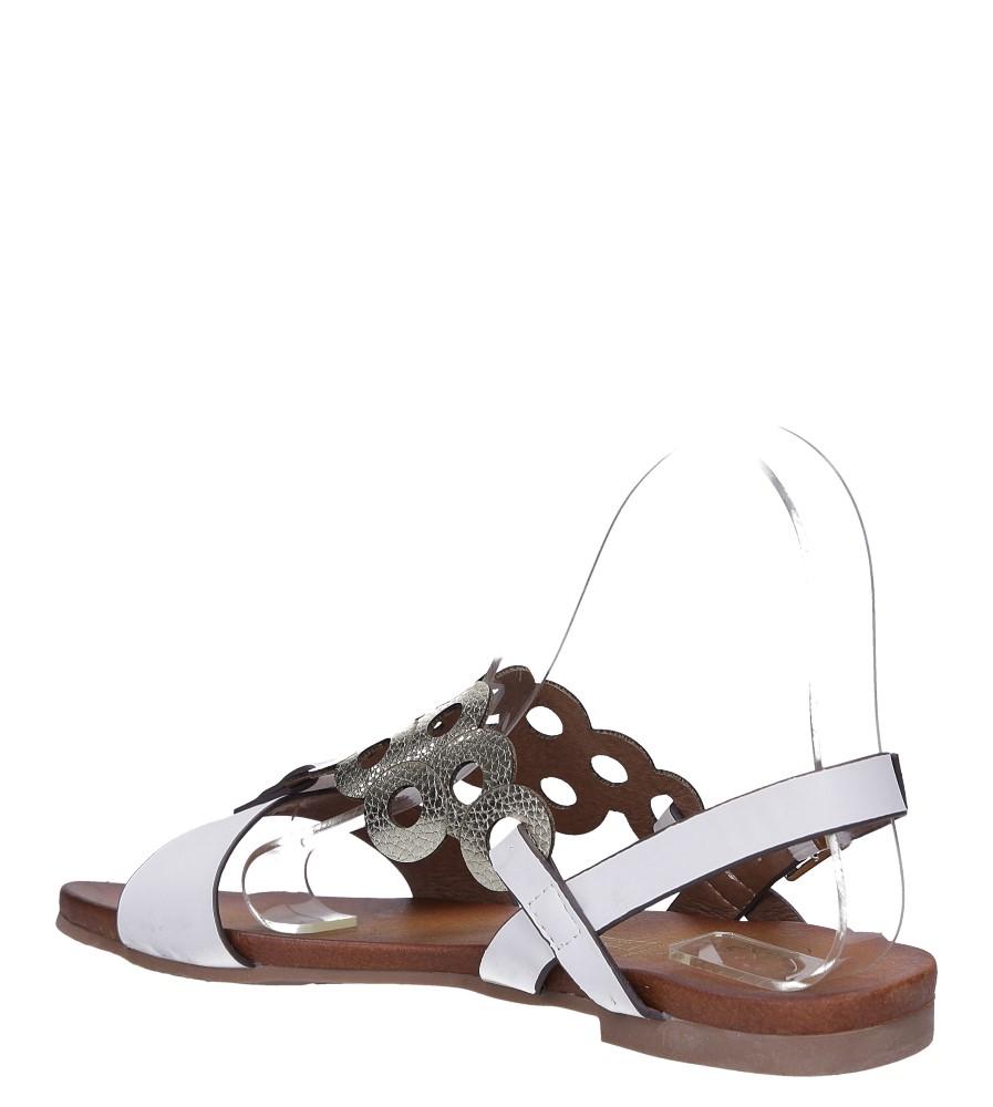 Białe lekkie sandały płaskie ażurowe błyszczące Casu K19X14/W wysokosc_platformy 1 cm