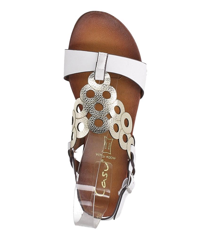 Białe lekkie sandały płaskie ażurowe błyszczące Casu K19X14/W wys_calkowita_buta 10 cm