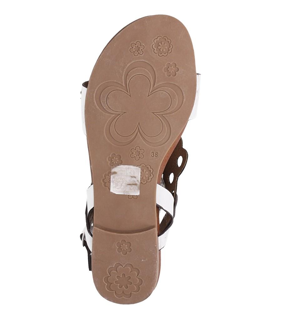 Białe lekkie sandały płaskie ażurowe błyszczące Casu K19X14/W wierzch skóra ekologiczna