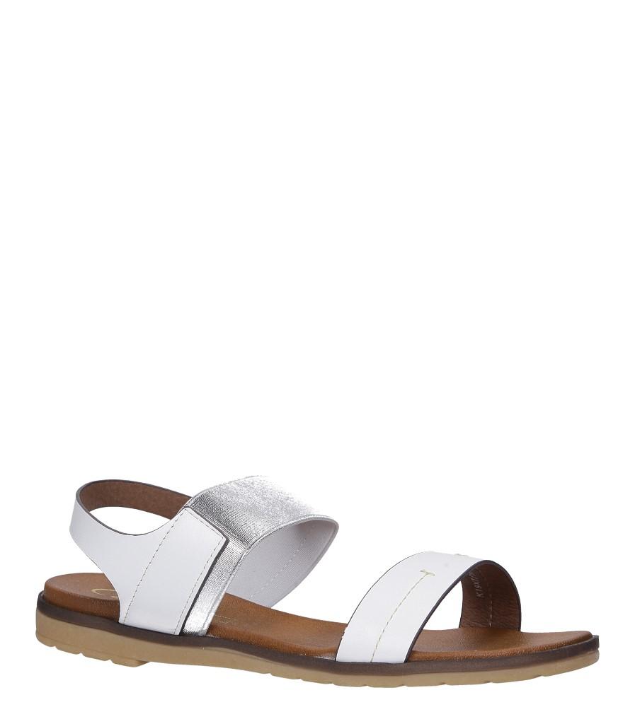 Białe lekkie sandały płaskie z błyszczącą gumką Casu K19X7/W