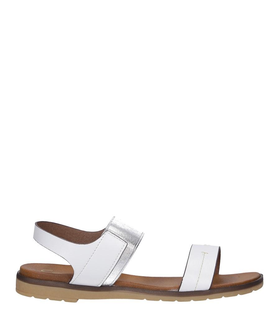 Białe lekkie sandały płaskie z błyszczącą gumką Casu K19X7/W wysokosc_platformy 1 cm