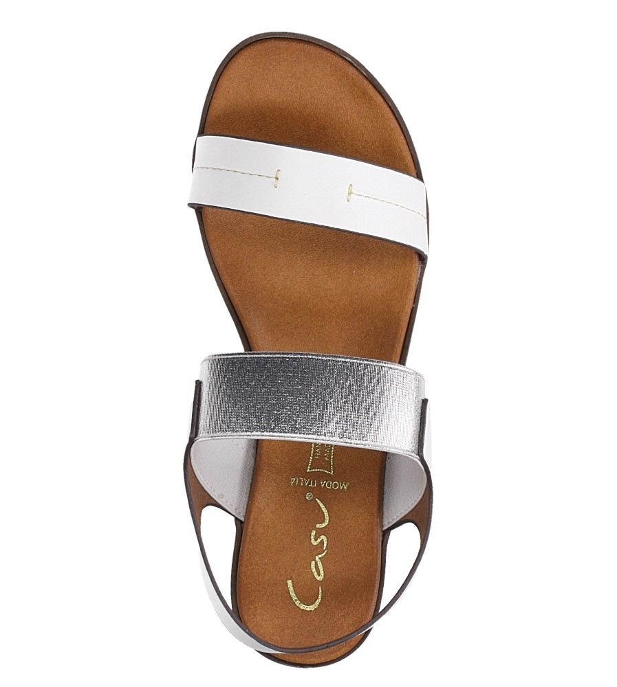Białe lekkie sandały płaskie z błyszczącą gumką Casu K19X7/W wierzch skóra ekologiczna