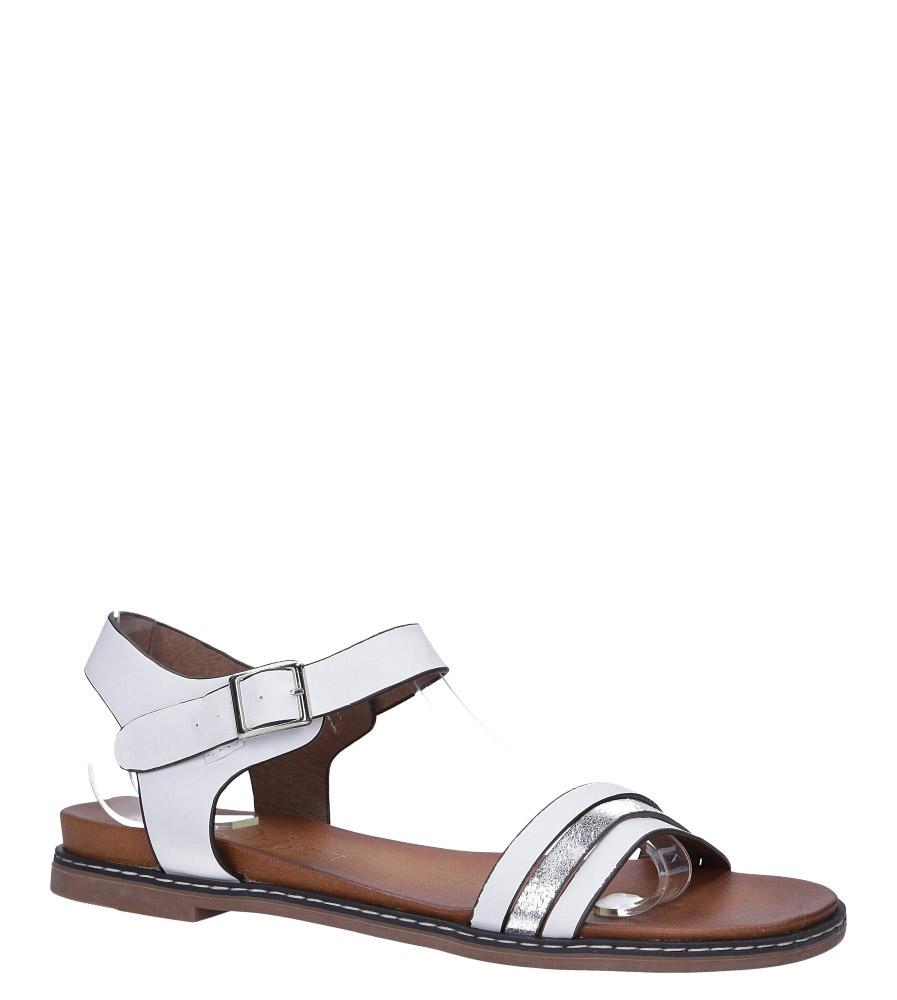 Białe lekkie sandały płaskie z błyszczącym paskiem Casu K19X13/W