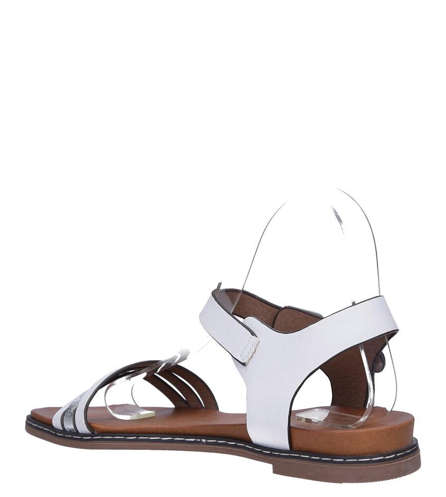 Białe lekkie sandały płaskie z błyszczącym paskiem Casu K19X13/W wys_calkowita_buta 13 cm