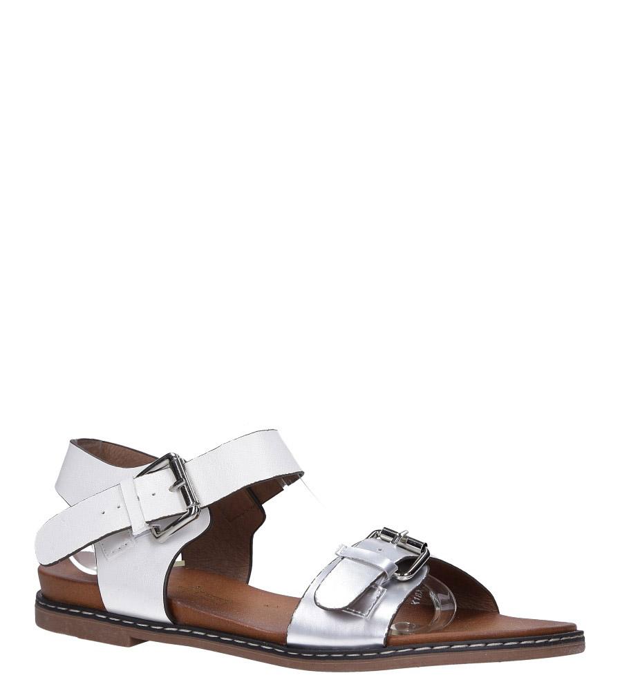Białe modne sandały ze srebrnymi klamrami Casu K18X12/W