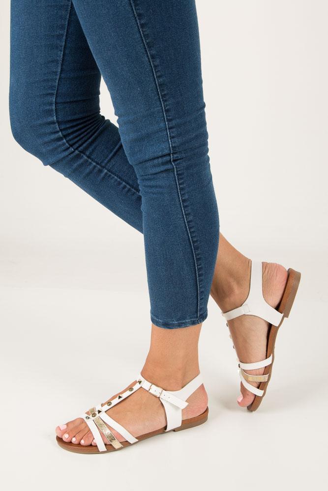 Białe płaskie i lekkie sandały z dżetami Casu K18X3/W